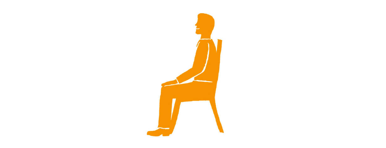 Drawing of a man sitting on a chair.