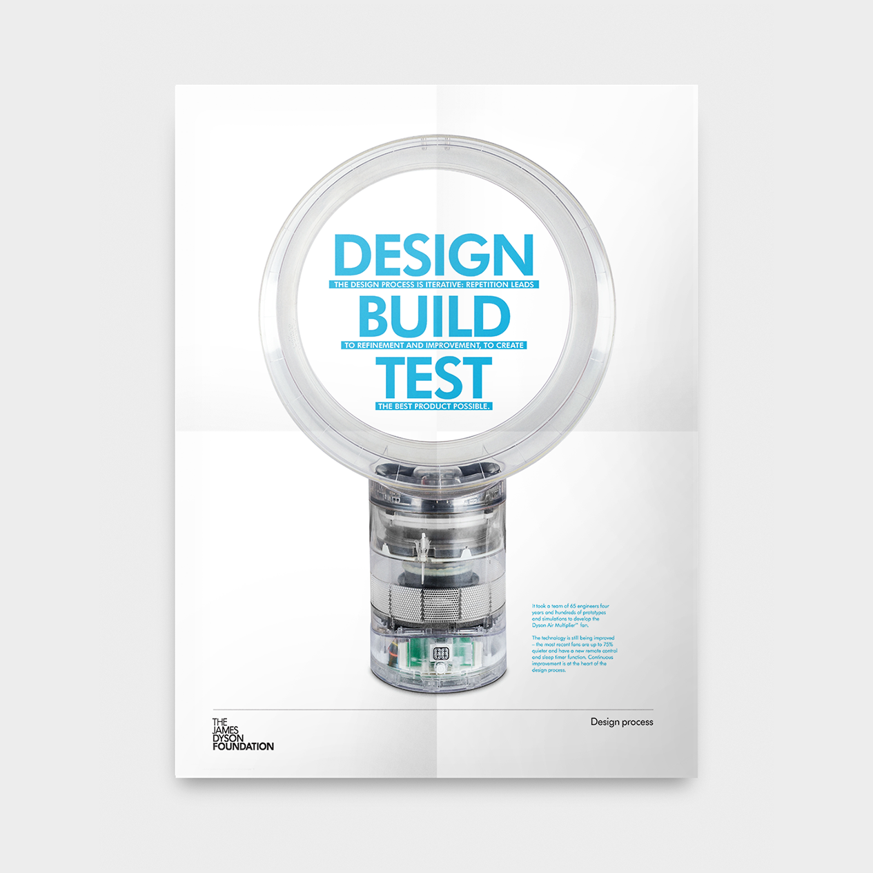A poster from the Design Process Box featuring a Dyson Air Multiplier fan and the words Design, Build, Test