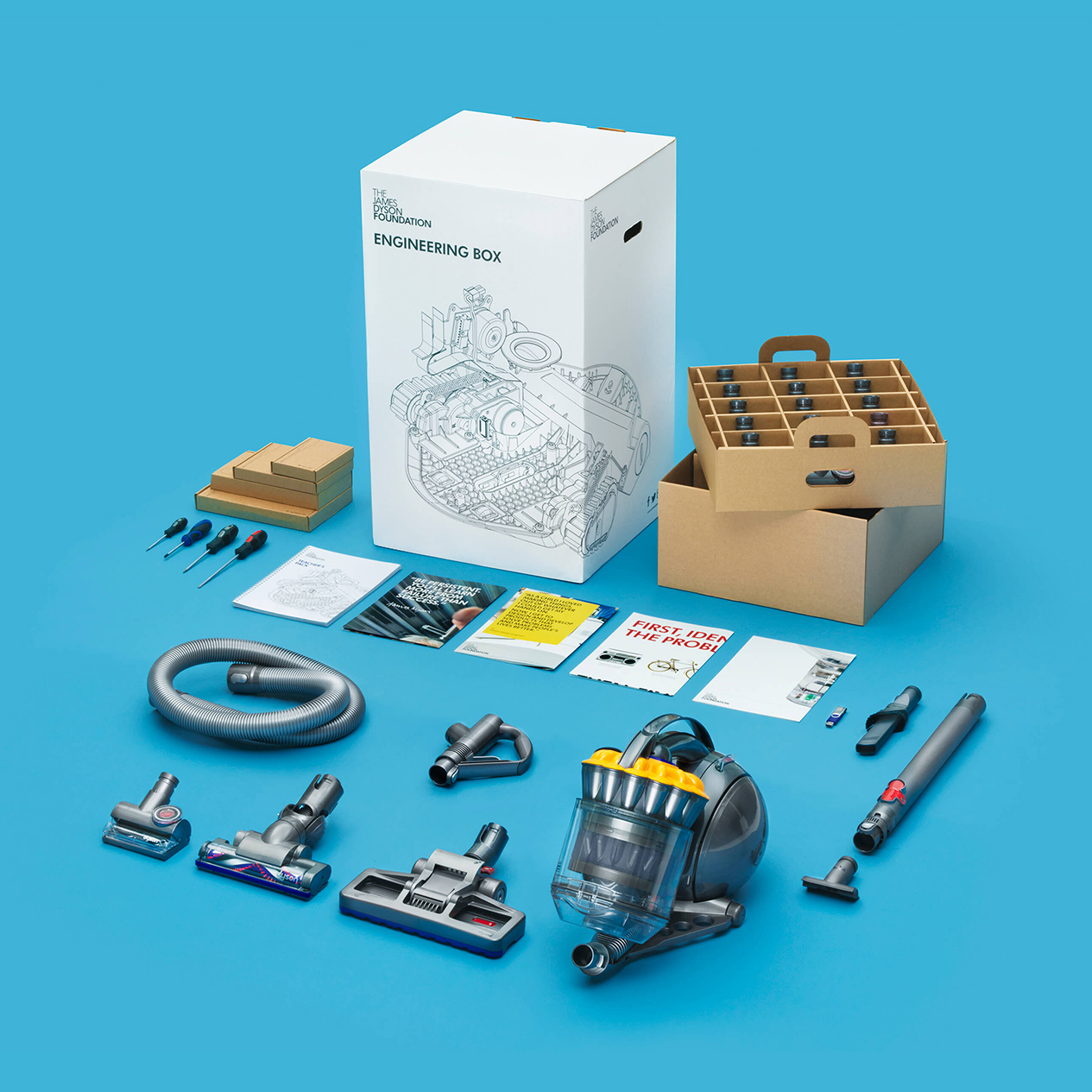 James Dyson Foundation engineering box school resource containing a Dyson vacuum cleaner, cleaner heads, screwdrivers, teacher's pack and posters.