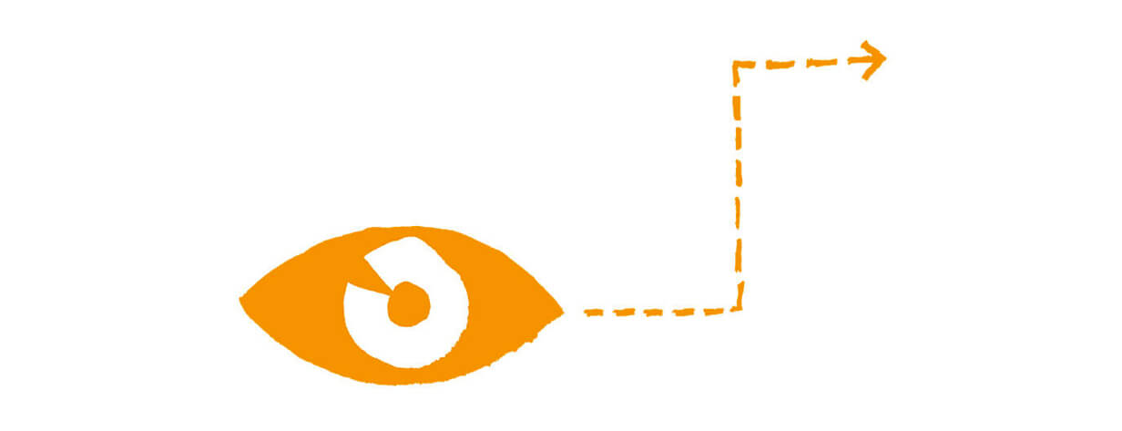 Drawing of an eye with an arrow demonstrating the eye is able to see around a corner.