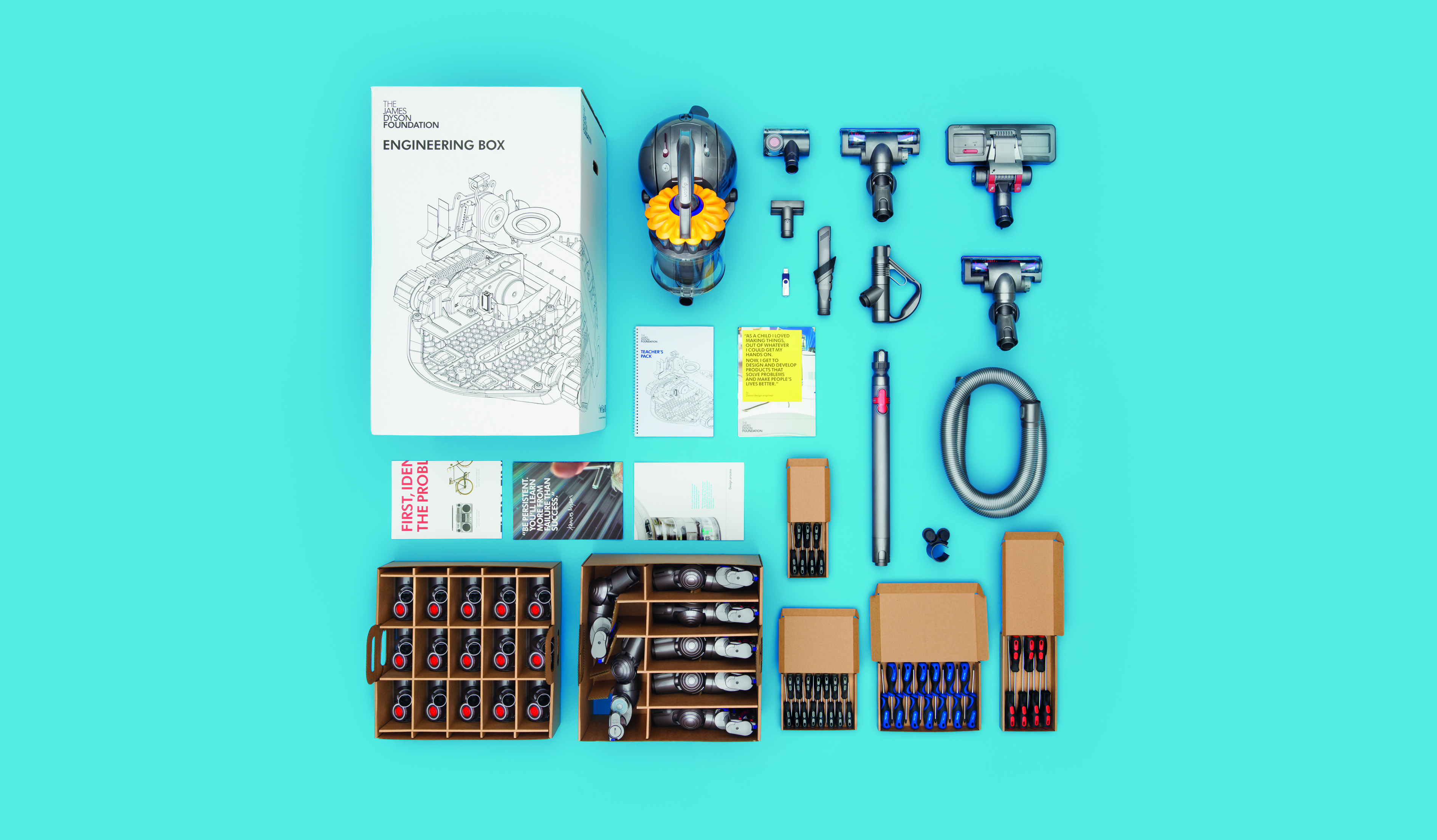 The engineering box and its contents. Including a Dyson vacuum cleaner and a teacher's information pack.